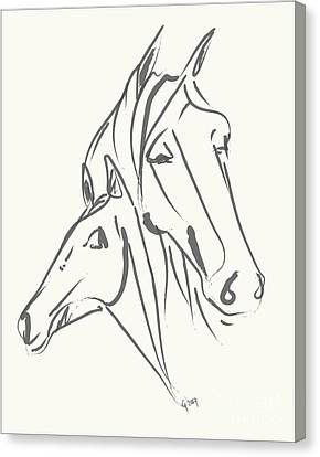 Horses Mother Love Canvas Print