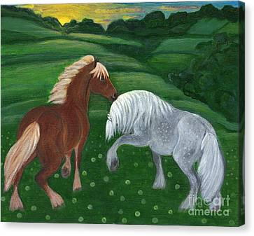 Horses Of The Rising Sun Canvas Print by Anna Folkartanna Maciejewska-Dyba