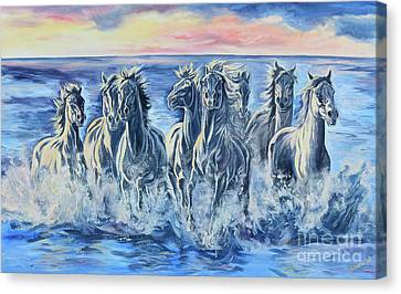 Horses Of The Sea Canvas Print by Jana Goode