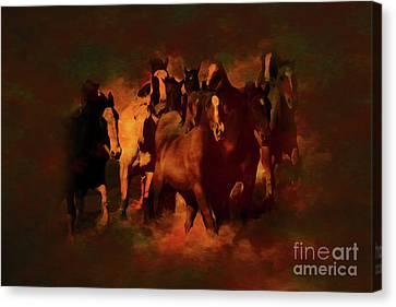Horses Paintings 34b Canvas Print by Gull G