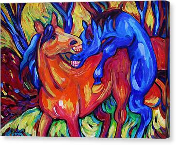 Canvas Print featuring the painting Horses Playing by Dianne  Connolly