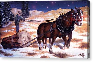 Horses Pulling Log Canvas Print by Curtiss Shaffer