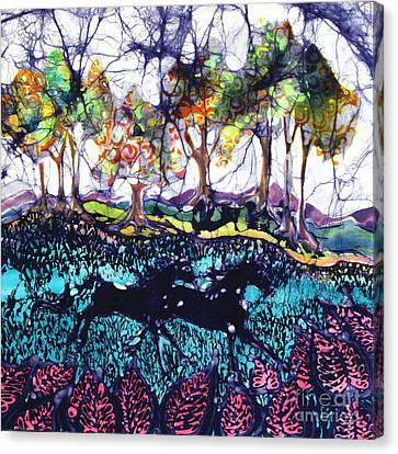 Horses Running Below Hills Canvas Print