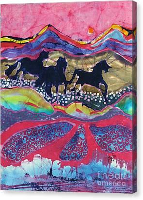 Horses Running Thru A Stream Canvas Print