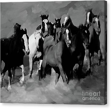 Horses Stampede 01 Canvas Print by Gull G