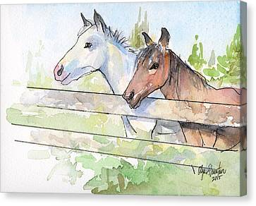 Horses Watercolor Sketch Canvas Print by Olga Shvartsur