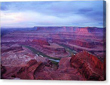 Canvas Print featuring the photograph Horseshoe Bend At Dawn by Marie Leslie
