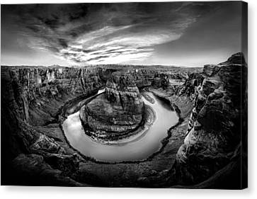 Horseshoe Bend Bw Canvas Print by Az Jackson