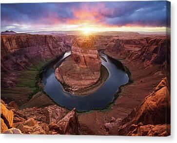 Horseshoe Bend Mega Sunset Canvas Print