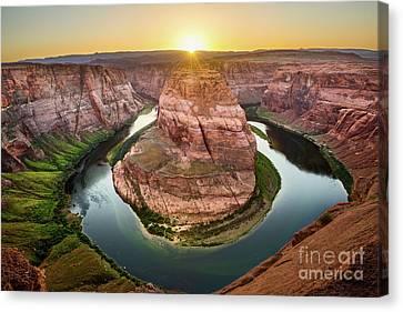 Horseshoe Bend Sunset Canvas Print by Jamie Pham