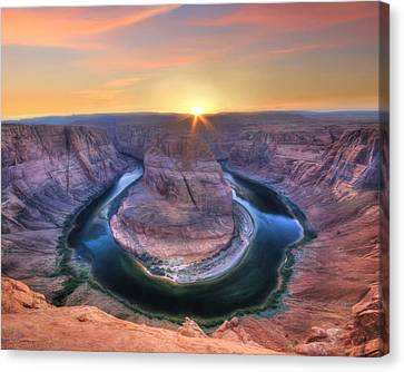 Horseshoe Bend Sunset Canvas Print by Lori Deiter