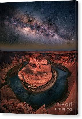 Horseshoe Bend With Milkyway Canvas Print