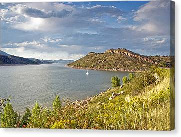 Horsetooth Dam Co Canvas Print by James Steele