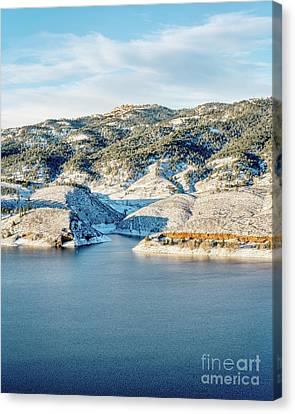 Horsetooth Reservoir And Rock Canvas Print by Marek Uliasz
