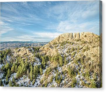 Horsetooth Rock In Winter Canvas Print by Marek Uliasz