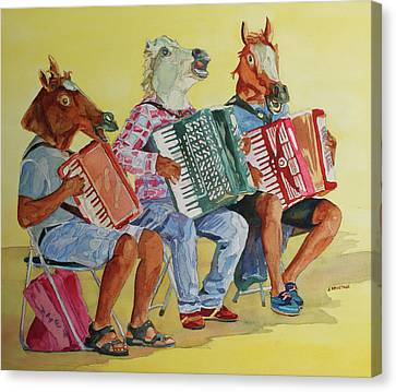 Horsing Around With Accordions Canvas Print by Jenny Armitage