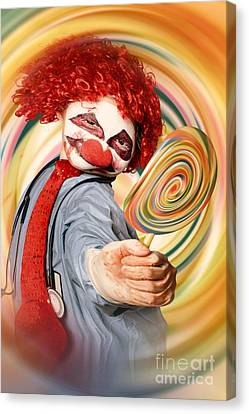 Hospital Clown Offering Psychedelic Lolly Hypnosis Canvas Print by Jorgo Photography - Wall Art Gallery