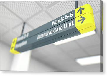 Hospital Directional Sign Intensive Care Unit Canvas Print
