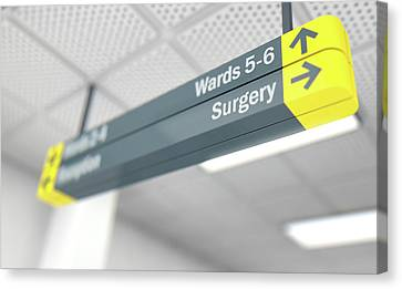 Theatre Canvas Print - Hospital Directional Sign Surgery by Allan Swart