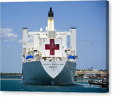 Hospital Ship Usns Mercy At Joint Base Canvas Print by Stocktrek Images