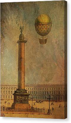 Canvas Print featuring the digital art Hot Air Balloon Over St Petersburg And The Hermitage by Jeff Burgess
