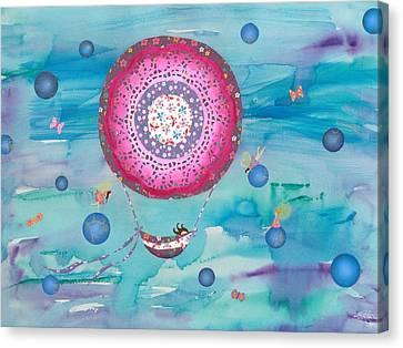 Hot Air Balloon, Sleeping Girl And Fairies Canvas Print by Sukilopi Art
