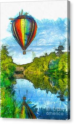 Reflecting Water Canvas Print - Hot Air Balloon Woodstock Vermont Pencil by Edward Fielding