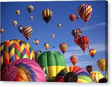 Beautiful Balloons On Blue Sky Canvas Print by Art America Gallery Peter Potter
