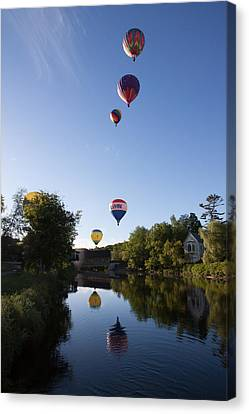 Hot Air Balloons Playing Follow The Leader Canvas Print