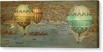 Canvas Print featuring the digital art Hot Air Baloons Over Venus by Jeff Burgess