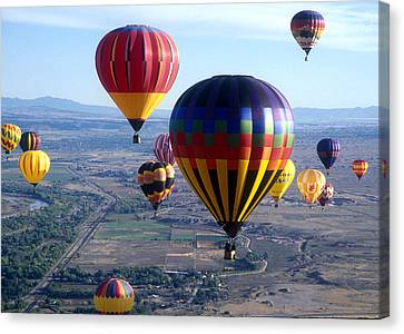 Hot Air Over Albuquerque Canvas Print by Dale Hart