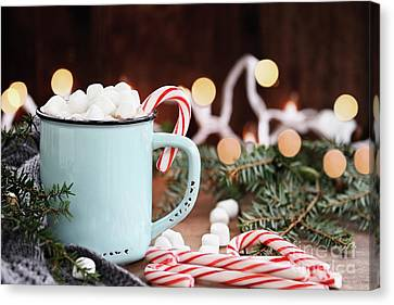 Hot Cocoa With Marshmallows And Candy Canes Canvas Print by Stephanie Frey