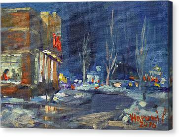 Hot Coffee In Cold Winter At Tim's With Viola Canvas Print