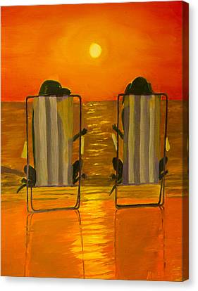 Hot Day At The Beach Canvas Print by Roger Wedegis