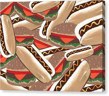 Hamburger Canvas Print - Hot Dogs And Hamburgers by Kathleen Sartoris