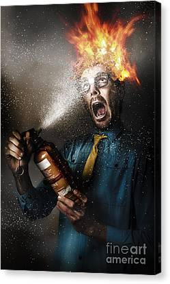 Hot Headed Nerd Businessman Playing With Fire Canvas Print by Jorgo Photography - Wall Art Gallery