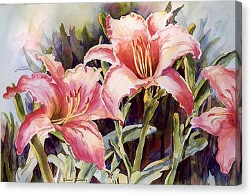 Canvas Print featuring the painting Hot Lillies by Roxanne Tobaison