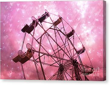 Hot Pink Carnival Ferris Wheel Stars And Hearts - Baby Girl Nursery Hot Pink Ferris Wheel Decor Canvas Print by Kathy Fornal