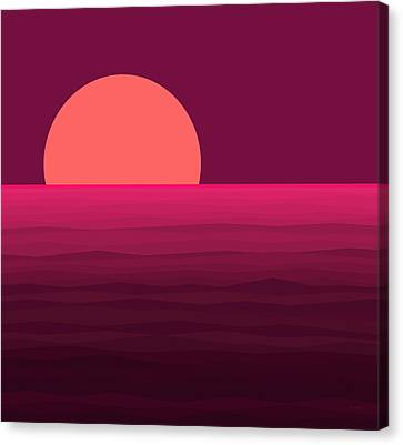 Abstract Seascape Canvas Print - Hot Pink Sunset by Val Arie