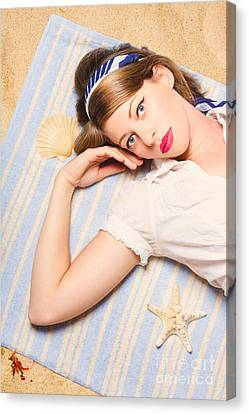 Hot Retro Pinup Girl Lying On Beach In Australia Canvas Print by Jorgo Photography - Wall Art Gallery