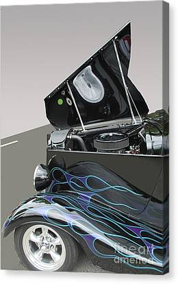 Canvas Print featuring the photograph Hot Rod With Flames by Bill Thomson