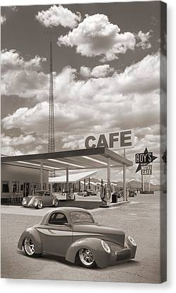 Hot Rods At Roy's Gas Station Sepia Canvas Print by Mike McGlothlen