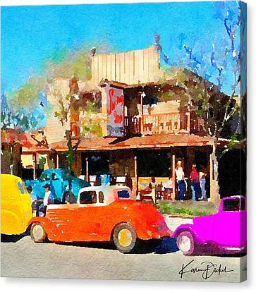 Hot Rods At Swing Inn, Temecula Canvas Print by Karen Dickel