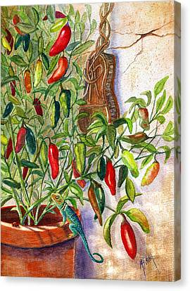Canvas Print featuring the painting Hot Sauce On The Vine by Marilyn Smith