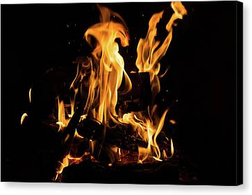 Hot Sparks - Comfort And Warmth By The Fireplace Canvas Print by Georgia Mizuleva