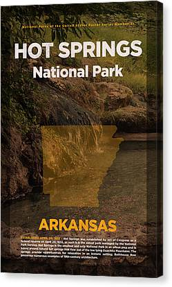 Hot Springs National Park In Arkansas Travel Poster Series Of National Parks Number 31 Canvas Print by Design Turnpike