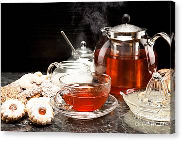 Drink Canvas Print - Hot Steaming Tea With Christmas Biscuits by Wolfgang Steiner