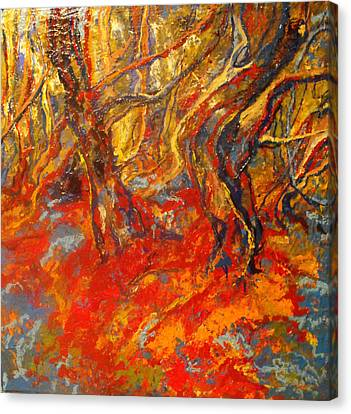 Canvas Print featuring the painting Hot Summer In The Forest by Koro Arandia