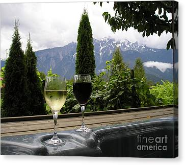 Hot Tub And Wine Canvas Print by Robert Meanor
