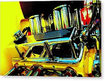 Hot Yellow Chevy Motor Canvas Print